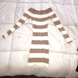 Tan/White Striped Dress